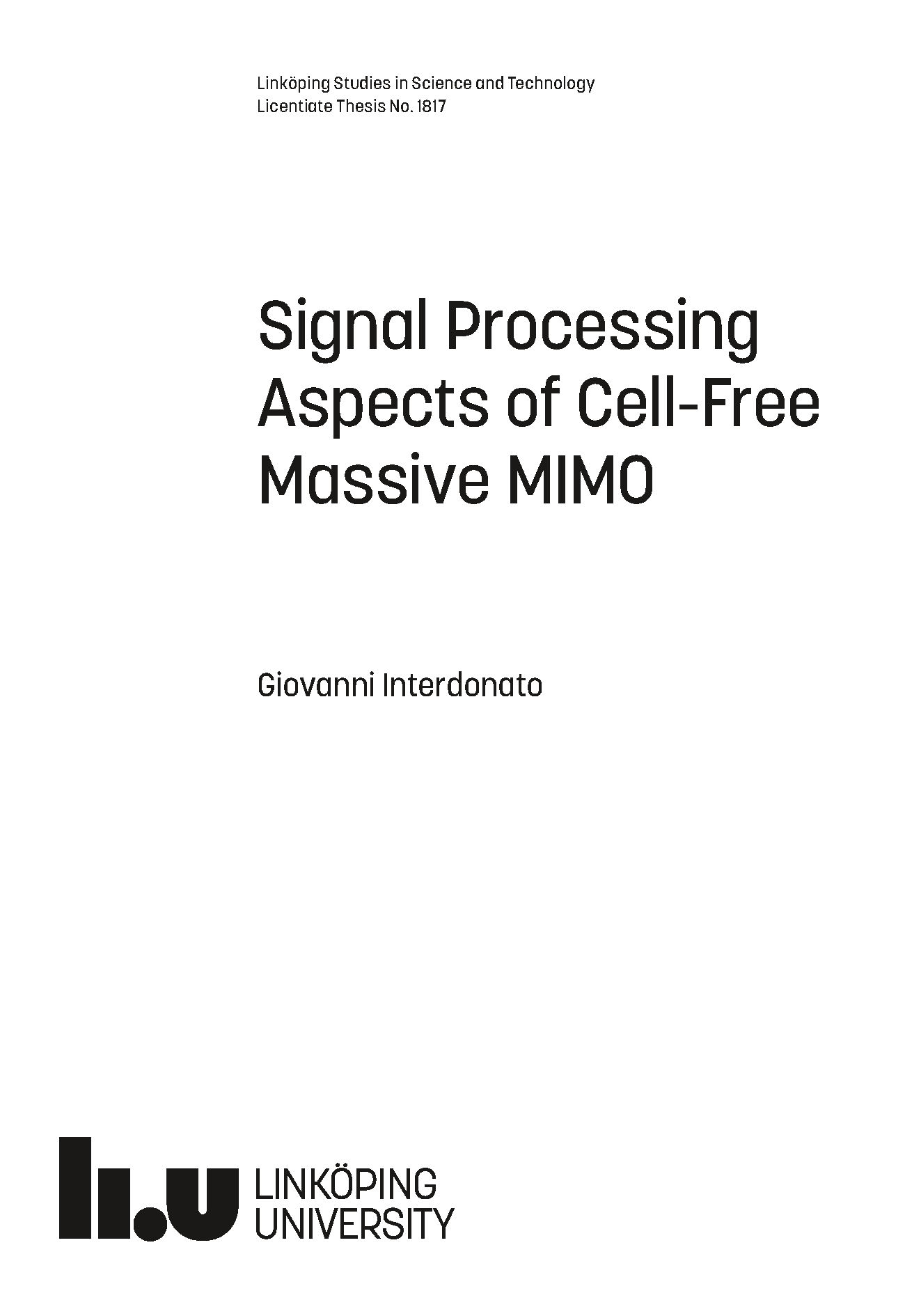 Signal Processing Aspects of Cell-Free Massive MIMO
