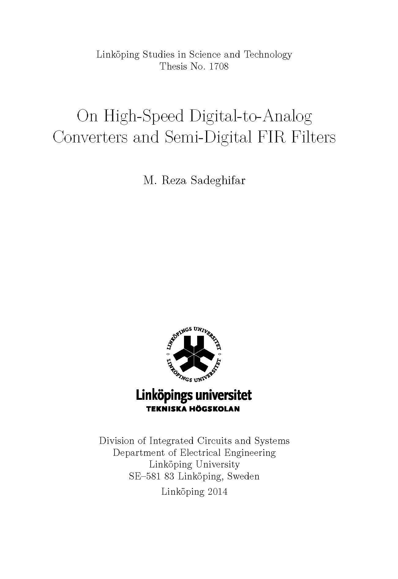 On High Speed Digital To Analog Converters And Semi Fir Filters Circuits Open Access In Diva